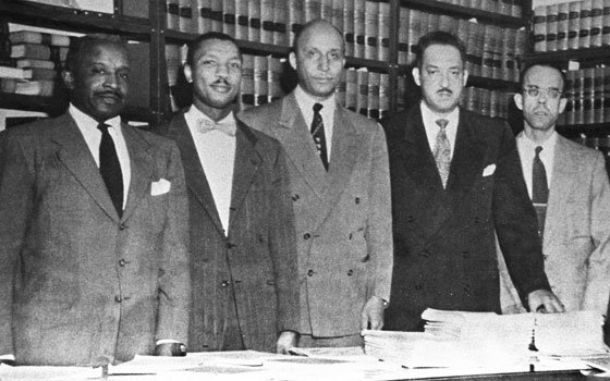 This 1954 photo shows lawyers for the NAACP Legal Defense and Educational Fund Inc. Pictured (from l to...