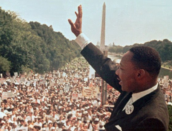 "The Rev. Martin Luther King Jr. acknowledges the crowd at the Lincoln Memorial for his ""I Have a..."