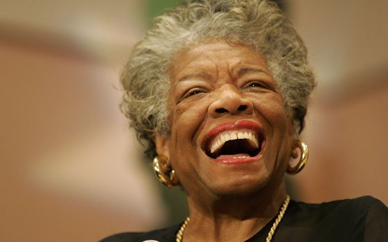 Poet and novelist Maya Angelou laughs as she addresses the audience at the Sickle Cell Disease Association...