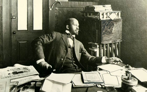 Civil rights pioneer W.E.B. Du Bois is shown in his office at Atlanta University in 1909. A new...