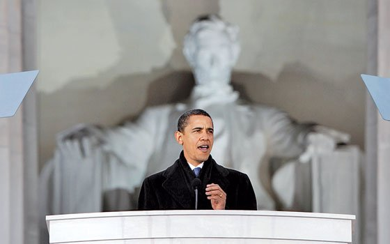 In this Jan. 18, 2009 photo, President-elect Barack Obama speaks at the Lincoln Memorial during an inaugural concert...