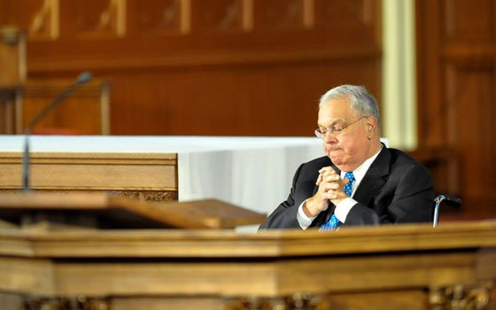Mayor Thomas Menino paused for a moment of reflection during an interfaith service at the Cathedral of the...