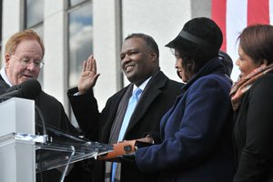 Prince George's County Executive Rushern L. Baker III, takes the oath of office shortly before noon on Mon., Dec. 6 in front of the County Administration Building Promenade in Upper Marlboro, Md.. Photo by Khalid Naji-Allah