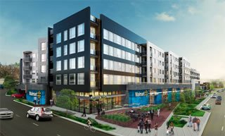 The Fort Totten Square Walmart in Northeast represents one of six new Walmart stores planned for the District. This rendering shows a mixed-use development that will include 350 apartments. /Courtesy photo