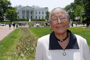 Recy Taylor stands in Lafayette Park, Thu., May 12, after visiting the White House. Taylor is touring the nation's capital nearly seven decades after she was denied justice following a brutal assault. (AP Photo/Susan Walsh)