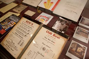 Memorabilia from the Ben's Chili Bowl collection on display at The George Washington University Gelman Library in Northwest. / Photo by William Atkins / The George Washington University.