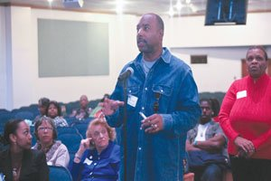 Participants and panelists at Greater Mt. Calvary Holy Church agreed there is a need to re-establish the black church as a place for political and social change. / Photo by Shevry Lassiter