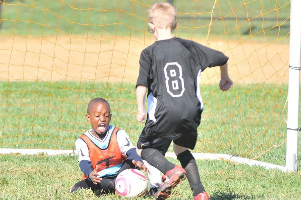 Blue M&M's goalie Ibrahim Conteh, 7, makes a goal-saving stop against Team Holland's Matthew Godshall, 7, during the 8 and Under Soccer Competition on Oct. 2 in Laurel, Md.  Photo by Khalid Naji-Allah