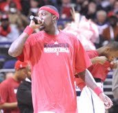 Wizards forward and game day captain, Andray Blatche, addressing the crowd at Verizon Center on Dec. 26./Photo by John E. de Frreitas