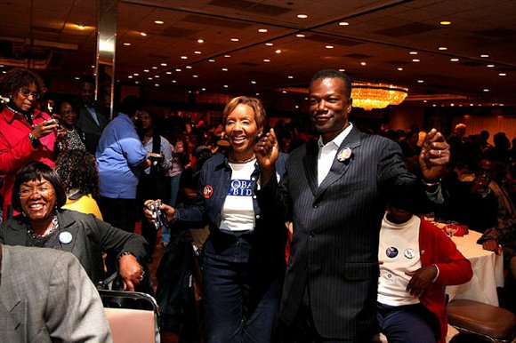 Prince George's County Executive Jack Johnson and wife Lesllie Johnson appear together...