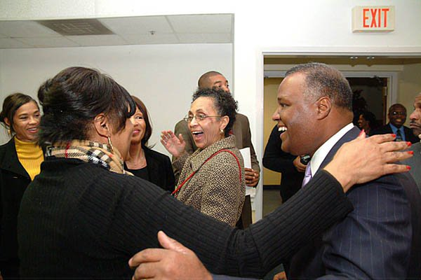 The Baker's greeting family and friends at an Inaugural Reception and Gospel Concert hosted by the Washington Informer and Prince George's County Suite  Photo by Maurice G. Fitzgerald