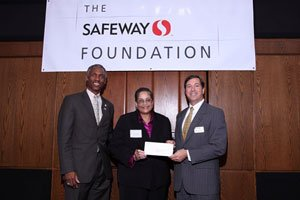 Craig Muckle, Safeway Pubic Affairs; Aisha Karimah, NBC 4 / Food for families; Gregory Ten Eyck, chairman of Safeway Foundation for the Eastern Division. Courtesy Photo