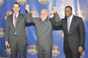 Popular boxing promoter and Howard alumni Rock Newman introduces the Mayors of Washington D.C. (Hon Vincent C.Gray) and Atlanta (Hon Kasim Reed) at the press conference held at the Walter E. Washington Convention Center to help promote the Nation's Football Classic.  Photo By John E.De Freitas.