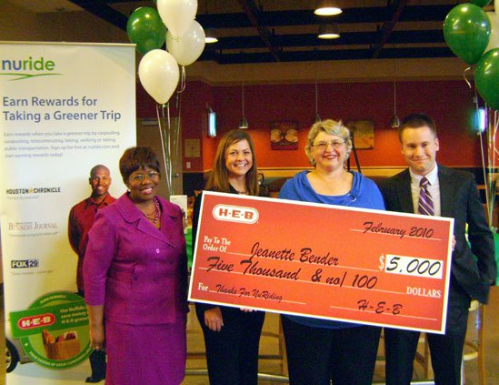 H-E-B, NuRide and the Houston-Galveston Area Council presented Needville resident Jeanette Bender with a year of free H-E-B groceries for ...