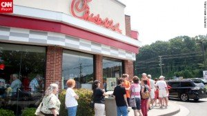 Throngs of people weighed in on the Chick-fil-A debate at stores across the United States on Wednesday, buying chicken sandwiches ...