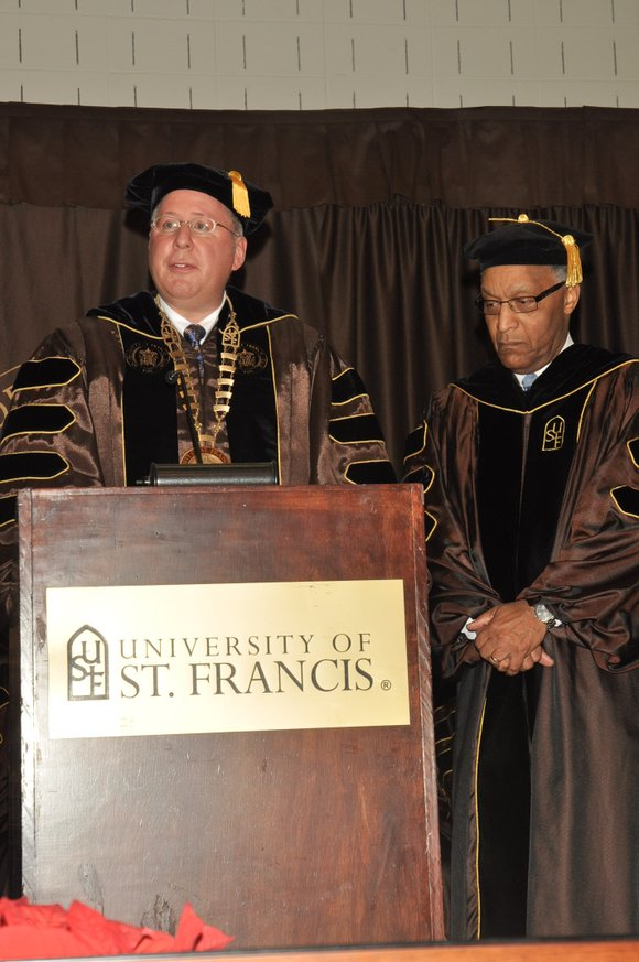 The University of St. Francis (USF) presented the Saints Francis & Clare Award to J.D. Ross, a well-known leader in ...
