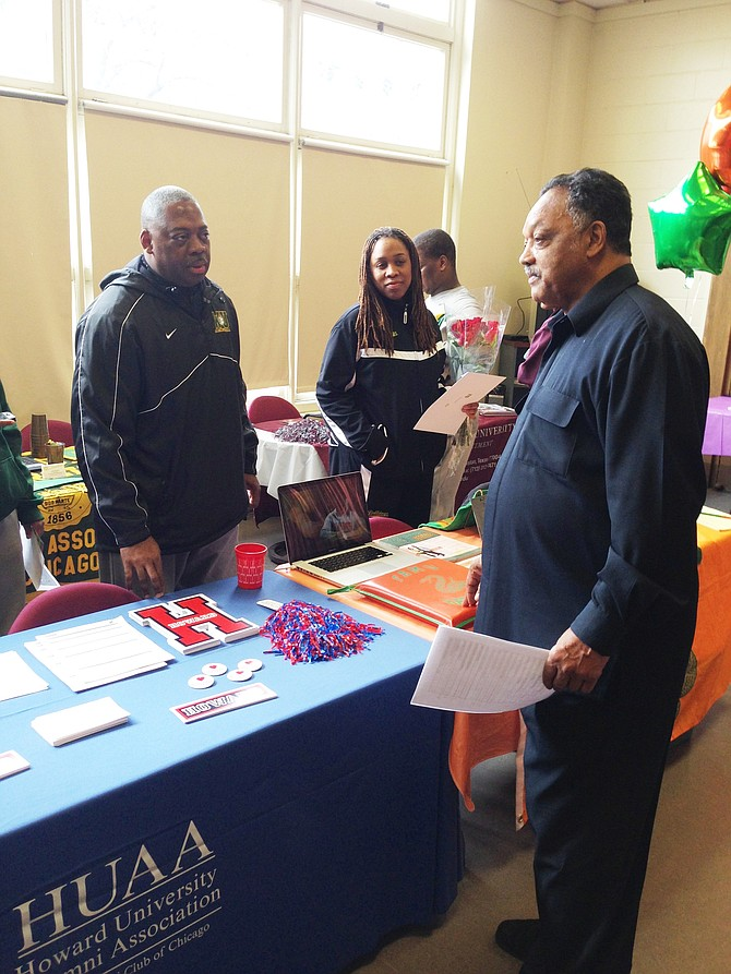 Rev. Jesse Jackson, Sr. spoke to students about attending HBCUs and PBIs at Rainbow PUSH Coalition's Chicago headquarters.  Photo: Lee Edwards