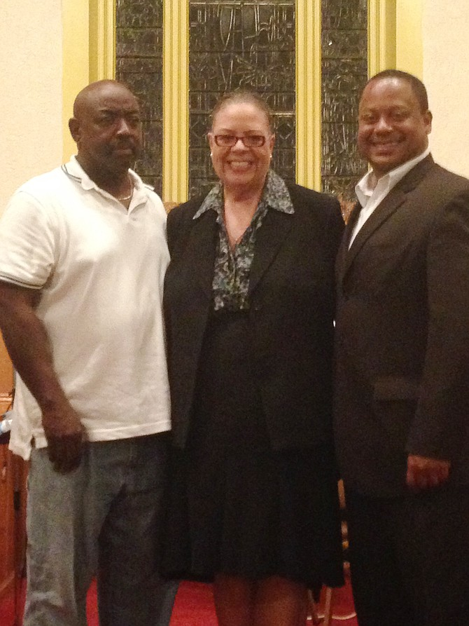 """Roosevelt Vonil, Karen Lewis, Roderick Sawyer: Greater Chatham Alliance, president, Roosevelt K. Vonil. Chicago Teachers Union, president, Karen Lewis, and Ald. Roderick Sawyer (6th Ward) pose for a picture inside  of Crerar Presbyterian Memorial Church, 8100 S. Calumet Ave. after Lewis completed her public speaking event, Conversations with Karen, where she addressed Chicago's """"hot topics."""""""