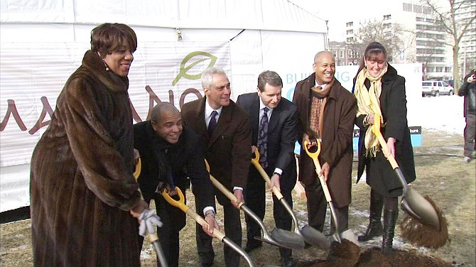 Chicago Mayor Rahm Emanuel, Bob Mariano, chairman and CEO of Roundy's, Inc., owner of the Mariano's grocery store chains, pictured center, are joined by Ald. Will Burns, (4th Ward) and Pat Dowell, (3rd Ward) for a ground breaking ceremony for the new Mariano's store at 39th  Street and King Dr.