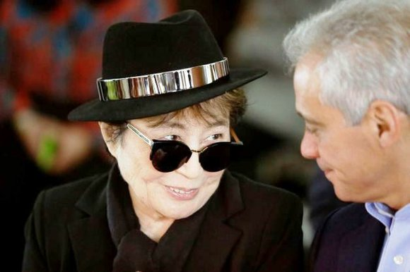Celebrity artist Yoko Ono, 82, was in Chicago on Friday to announce the installation of a permanent piece of her ...