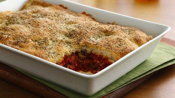 SERVINGS: 8 Ingredients 1 lb bulk mild Italian pork sausage 1 jar (14 oz) pizza sauce 1 package (8 oz) ...