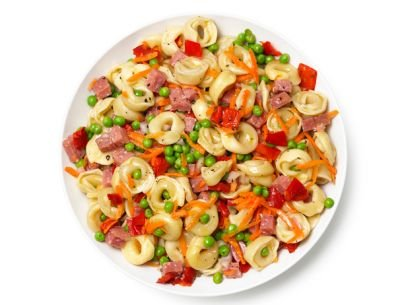 Ingredients Kosher salt 1/2 pound tortellini 1 cup cubed salami 1 cup shredded carrots 1 cup frozen peas or snap ...