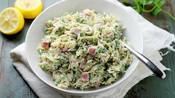 SERVINGS: 6 Ingredients 1 ¼ cups uncooked orzo or rosamarina pasta 4 small lemons 1 ½ cups cubed cooked ham ...