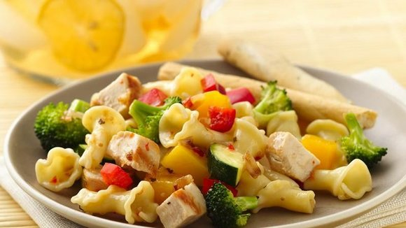 SERVINGS: 8 Ingredients 1 package (8oz) uncooked campanelle or rotini pasta 3 boneless skinless chicken breasts (1 lb) 1 tablespoon ...