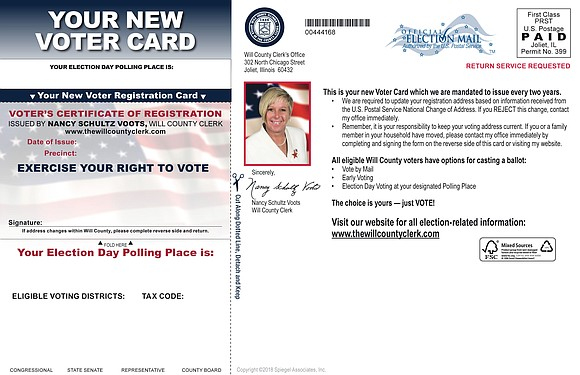 All active registered Will County voters will be receiving a new Voter Registration Card in the mail by the end ...
