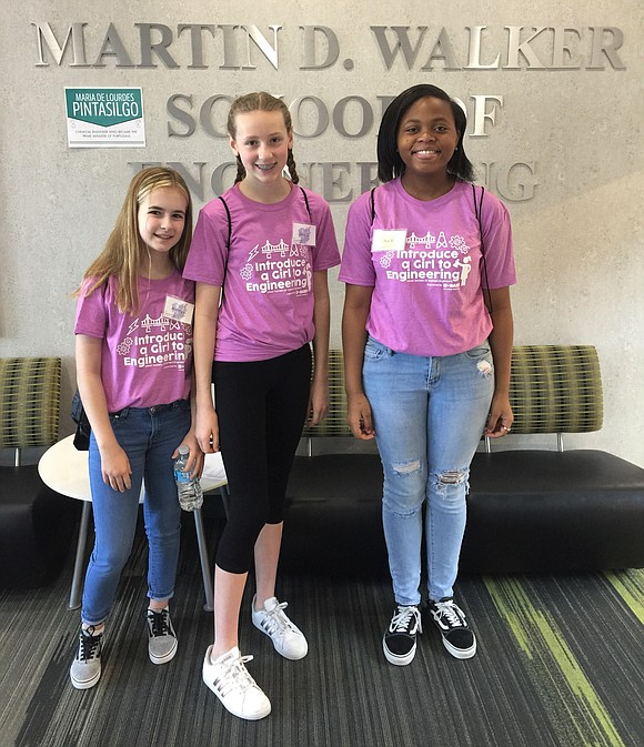 """Troy Middle School seventh-graders Aubrey Lynch and Lucy Offermann and eighth-grader Aja Sanders participated in April's """"Introduce a Girl to ..."""