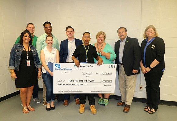 Four student groups from Washington Junior High were surprised with Angel Investor Awards for having one of the top six ...