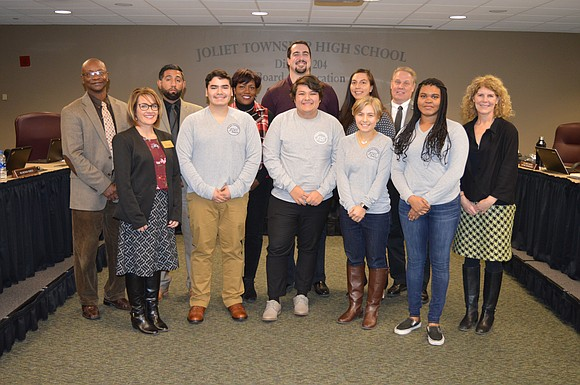 Joliet Township High School Board of Education members received words of appreciation from Student Ambassadors Matthew Hernandez , Kasey Lyn, ...