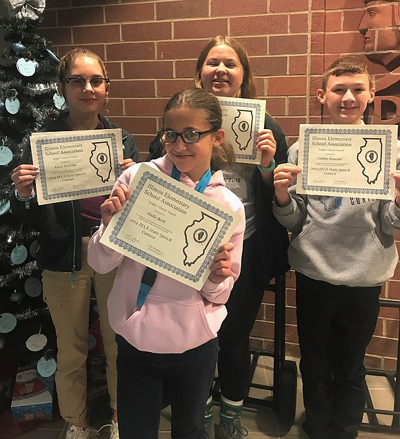 Twelve members of the Troy Middle School Speech Team and one of the William B. Orenic Intermediate School Speech Team ...