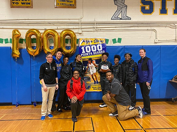 Joliet Central Junior Jalysa Stokes scored her 1,000th point against Bishop Mac at the Bradley-Bourbonnais Holiday Tournament where the Lady ...