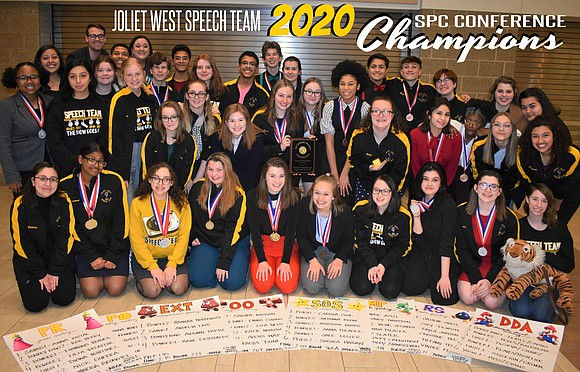 The Joliet West Speech Team won its fourth consecutive conference championship title on Saturday, January 25, 2020 at the SPC ...
