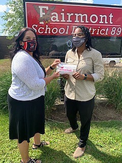 After the Peanut donated more than 250 pencil pouches loaded with school supplies to Fairmont School District 89 because of ...