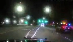 Joliet Police are seen here pursuing a man in a stolen ambulance.