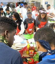 Each student team in the Teen Battle Chef cooking competition had to rework a classic American meal into a healthier recipe that included at least three fruits and vegetables.