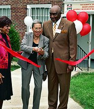 The Hubert V. Simmons Negro Leagues Baseball Museum of Maryland, Inc. is located at 3800 Patterson Avenue at the Lochearn Presbyterian Church in Baltimore. The museum was opened in 2009 and features life-sized displays of prominent Negro League players, uniforms, photos and other memorabilia. (Left to right) Audrey Simmons, executive director of the museum; Barbara Golden, daughter of former Negro League star Richard Powell; and T. Russell Hopewell, president of the museum's board of directors at the ribbon cutting ceremony and grand opening of the museum back in 2009.
