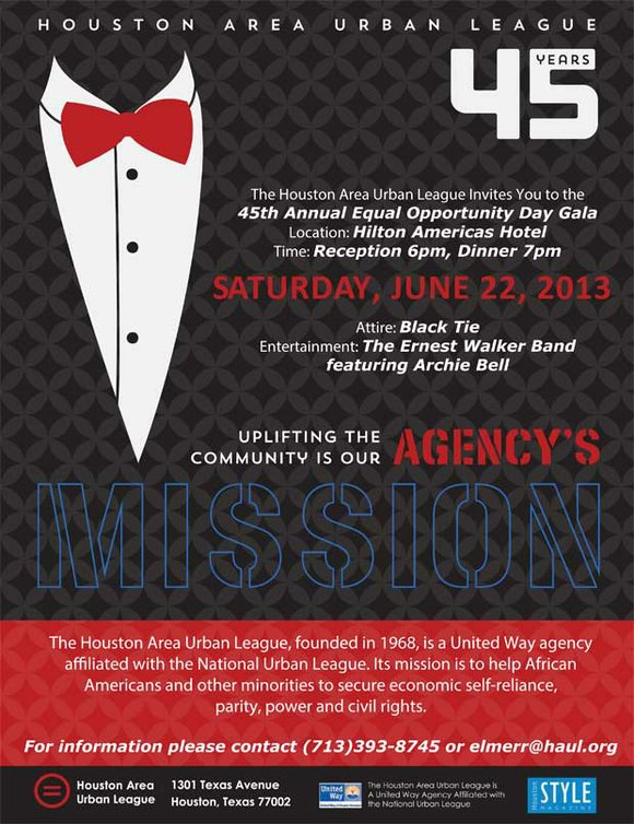 The Houston Area Urban League will celebrate 45 years of providing services to the Greater Houston community on Saturday, June ...