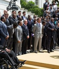 Super Bowl XLVII Champion Baltimore Ravens were honored at the White House on Wednesday, June 5, 2013. The visit continues the tradition begun by President Barack Obama of honoring sports teams for their efforts to give back to communities as part of their trip to Washington, D.C. On the South Lawn at the White House, President Obama praised the Ravens not only for the goal line stand that sealed the team's second Super Bowl trophy but its charitable work in Baltimore as well.  Courtesy Photo/The White House
