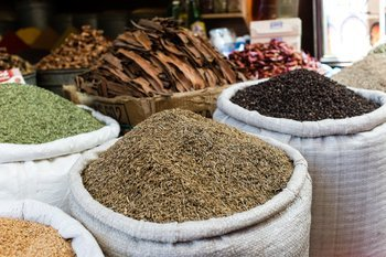 Spices at an open air market in Morocco