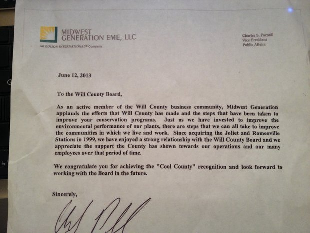 This is the letter Curt Paddock received from a Midwest Generation spokesman, endorsing the Cool Counties designation for Will County.