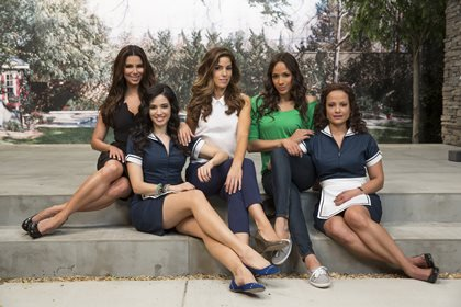 """The cast of """"Devious Maids"""" from left: Roselyn Sanchez, Edy Ganem, Ana Ortiz, Dania Ramirez and Judy Reyes. TV history will be made Sunday night with the premiere of """"Devious Maids,"""" the first prime-time program featuring an all-Latina leading cast. But even before the first episode has aired, the Lifetime show is receiving a slew of criticism."""
