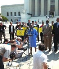 """Barbara Arnwine, President & Executive Director of the national Lawyers' Committee for Civil Rights Under Law ... says the SCOTUS ruling on voting rights undercuts a """"great preventative stop sign"""" against voter suppression. She talked to the press on Tuesday, June 25, 2013 after the SCOTUS reached their decision."""