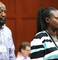 The parents of Trayvon Martin, Sybrina Fulton and Tracy Martin, arrive for the the 15th day of George Zimmerman's trial in Seminole circuit court, in Sanford, Fla., Friday, June 28, 2013. Zimmerman is accused in the fatal shooting of Trayvon Martin.