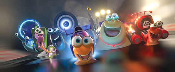 Turbo (center, played by Ryan Reynolds) and the Racing Snails race to glory.