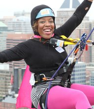 Local boxer Franchon Crews participated in the NKF-MD Rappel for Kidney Health to raise money for kidney disease research