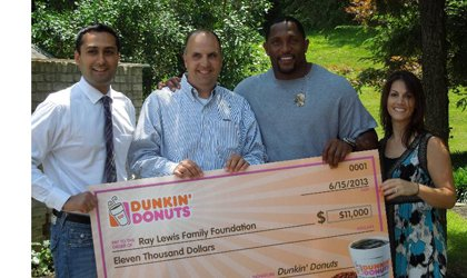 """Last fall, Baltimore area Dunkin' Donuts stores introduced an insulated coffee mug featuring Baltimore Ravens linebacker, Ray Lewis """"in motion"""" ..."""