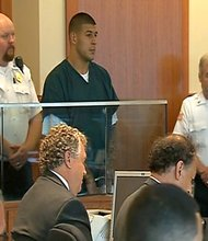 Former New England Patriot, now murder suspect, Aaron Hernandez, appeared in Fall River Superior court this afternoon (June 27th) for a bail hearing.